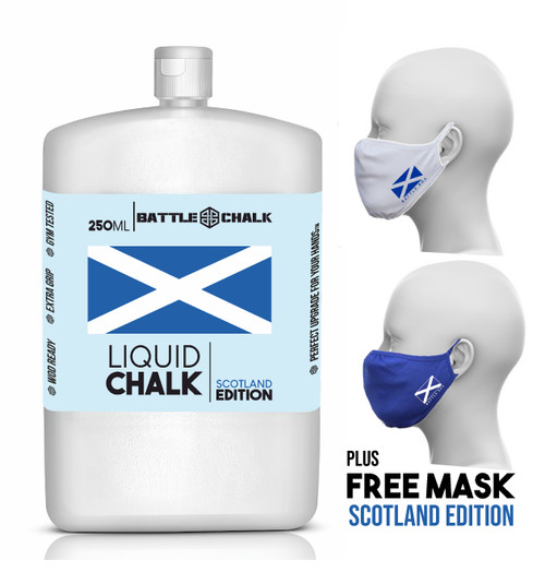 BATTLECHALK™| 250ml Scotland Edition Liquid Chalk Rock Climbing Gymnastics Gym Pole Dancing  - www.BattleBoxUk.com