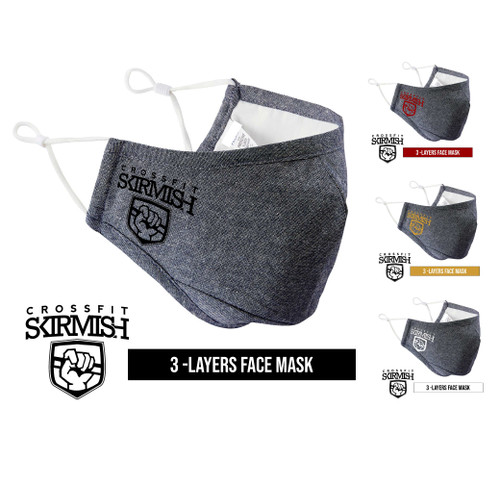 CrossFit Skirmish Battle Denim Face Mask Triple Layer Washable Cover Shield Breathable Reusable - www.BattleBoxUk.com