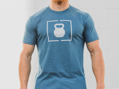 2Pood | Kettlebell Patch | Cool Blue Short Sleeve T-shirt - www.BattleBoxUk.com