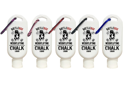 BATTLEBOX WEIGHTLIFTING | 50ml Premium Liquid Chalk with Carabiner White  - www.BattleBoxUk.com