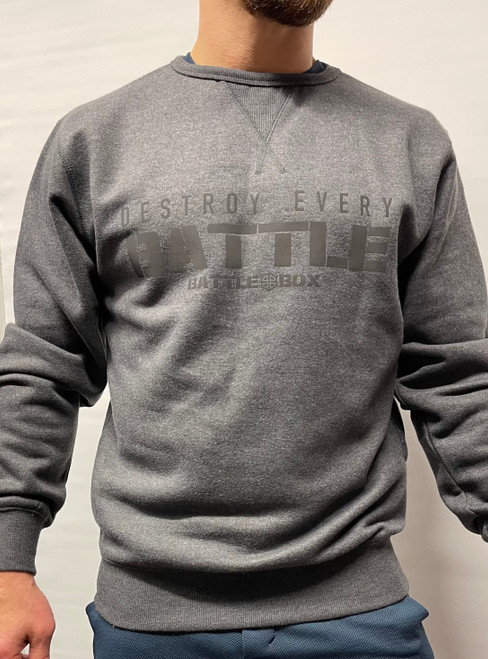 BattleBox UK™ | Destroy Every Battle | Ultra Premium Sweat Shirt | Black Melange - www.BattleBoxUk.com
