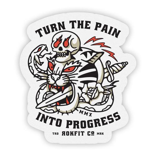RokFit Pain Into Progress Sticker www.battleboxuk.com