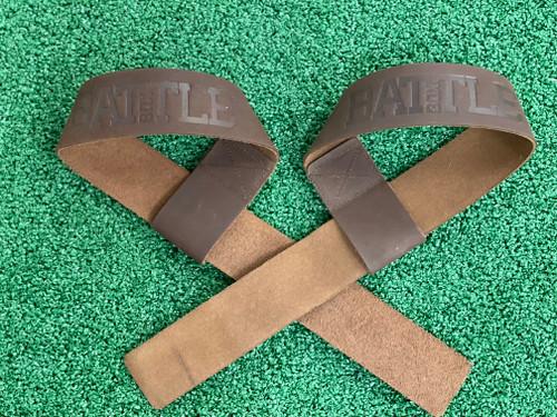 Battle Box 100% Leather Lifting Straps Brown  www.battleboxuk.com