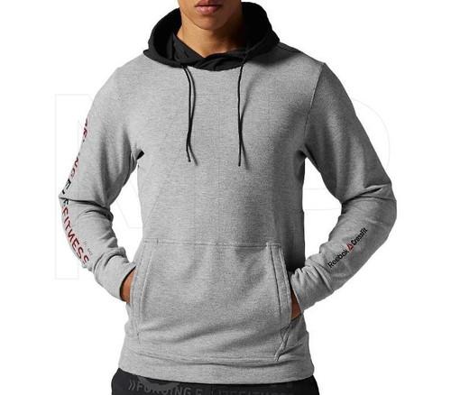 Reebok CrossFit RCF Fleece Hoodie Slim Grey Black Zip Up Top - www.BattleBoxUk.com