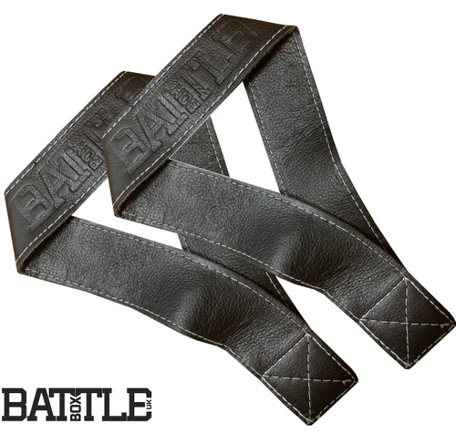 BattleBoxUK 100% Genuine Leather Single Closed Loop Olympic Lifting Straps Black - www.BattleBoxUk.com