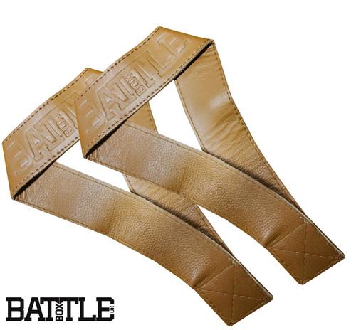 BattleBoxUK 100% Genuine Leather Single Closed Loop Olympic Lifting Straps Tan - www.BattleBoxUk.com
