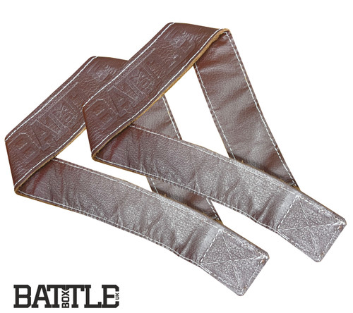 BattleBoxUK 100% Genuine Leather Single Closed Loop Olympic Lifting Straps Brown - www.BattleBoxUk.com