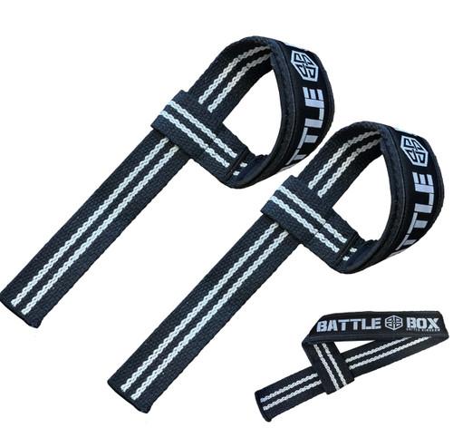 BattleBox UK Padded Adjustable Lifting Straps Black White Weightlifting
