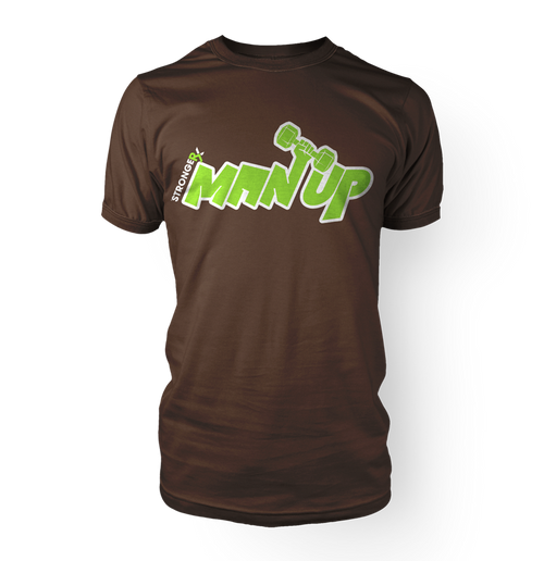 StrongerX Man Up T-Shirt Brown