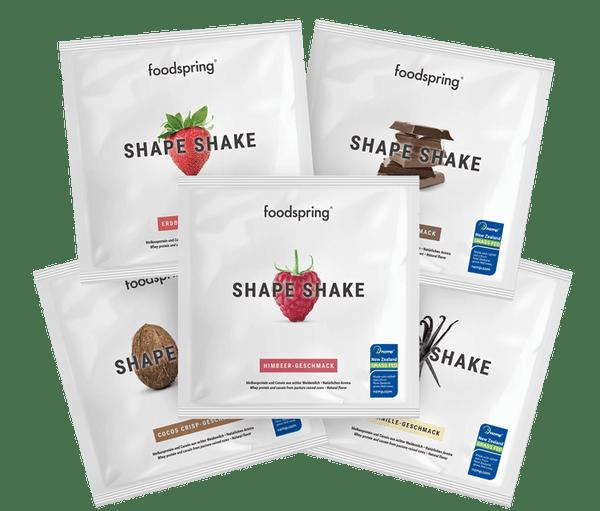 FOODSPRING SHAPE SHAKE | TO GO 5 PACK | GRASS FED PROTEIN |5 X 30G WWW.BATTLEBOXUK.COM