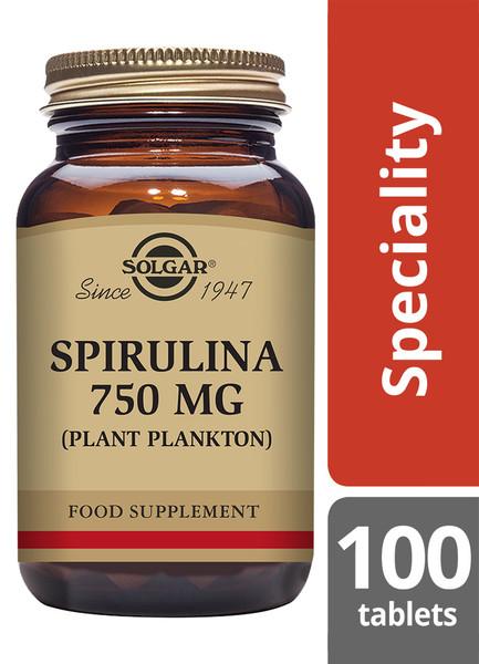 Solgar®   Spirulina 750mg Tablets-Pack of 100 (E2660) www.battleboxuk.com