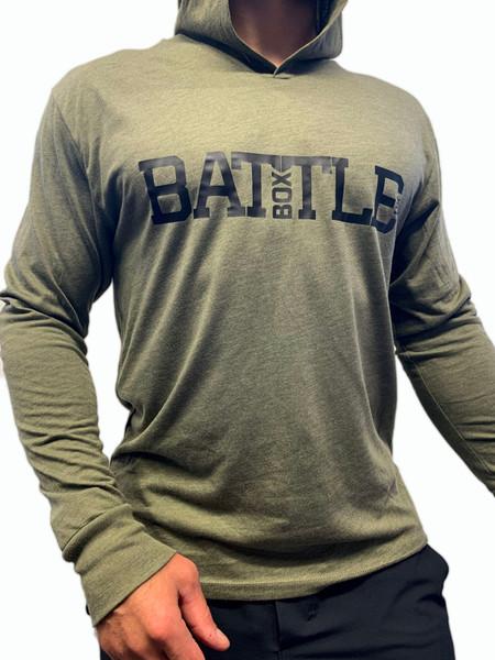 BattleBox UK™   WOD 2.0   Long Sleeve T-shirt Hoodie Tri-Blend   Military Green  - www.BattleBoxUk.com