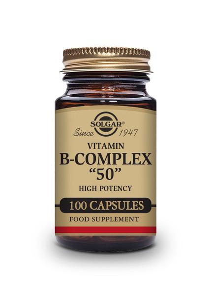 Solgar | Vitamin B-Complex 50 High Potency Vegetable Capsules| Pack of 100 (E1121E) www.battleboxuk.com