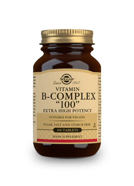 Solgar   Vitamin B-Complex 100 Extra High Potency Tablets-Pack of 100 (E1150E) www.battleboxuk.com