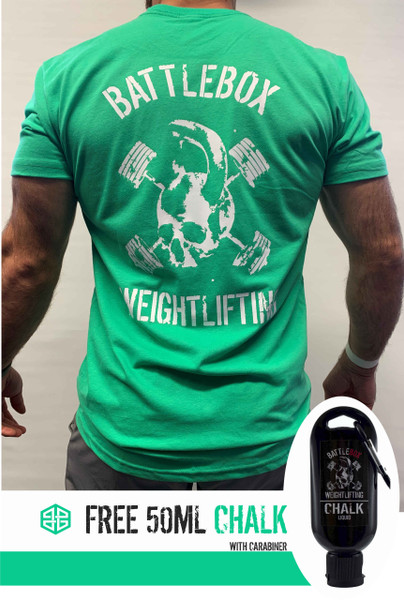 BattleBox UK™ | WEIGHTLIFTING | T-shirt | SKULL Green & White plus Free 50ml Chalk  - www.BattleBoxUK.com