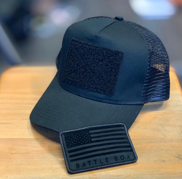 attleBox UK™ | USA Flag Detached Patch | Black Snapback Trucker Cap