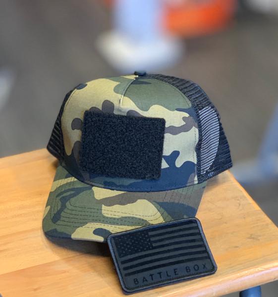 BattleBox UK™   USA Flag Detached Patch   Green Camo Snapback Trucker Cap