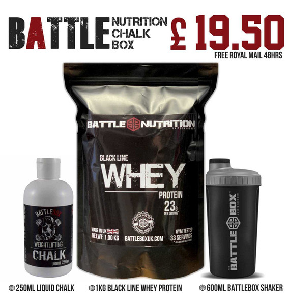Battle Nutrition SPECIAL OFFER Bundle | Whey Protein + Liquid Chalk +Shaker - www.BattleBoxUk.com