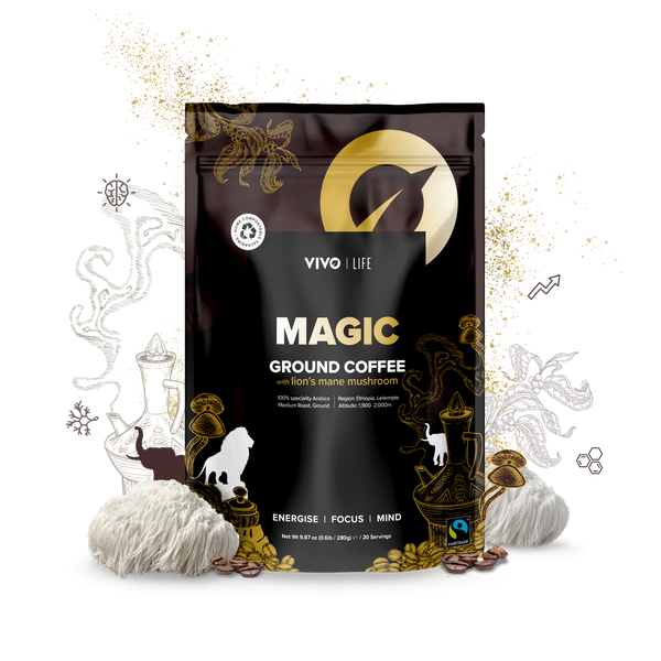 VIVO MAGIC ORGANIC FAIR TRADE GROUND COFFEE & LION'S MANE MUSHROOMS 280G / 20 SERVINGS WWW.BATTLEBOXUK.COM