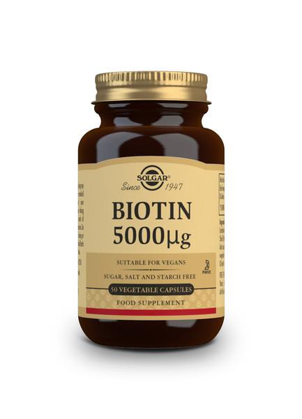 Solgar Biotin 5000 µg Vegetable Capsules - Pack of 50 (E313) www.battleboxuk.com