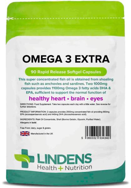 Lindens Health Nutrition   Omega 3 Fish Oil Extra   90 Capsules  www.battleboxuk.com
