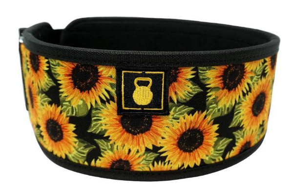 2POOD | SUNFLOWERS BY TASIA PERCEVECZ STRAIGHT WEIGHTLIFTING BELT (w/ WODclamp®)   - www.BattleBoxUk.com