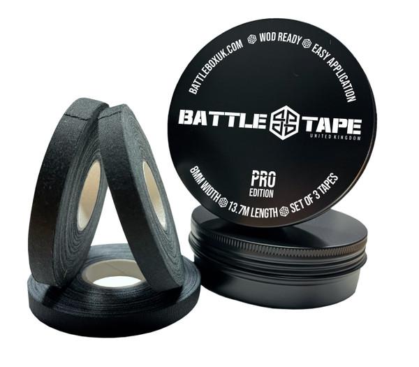 BattleTape Pro Black 8mm x 13.7m Finger Tape Set of 3 With Metal Box Strapping Tape Weightlifting MMA Guard Boxing BJJ Finger Tape Judo - www.BattleBoxUK.com