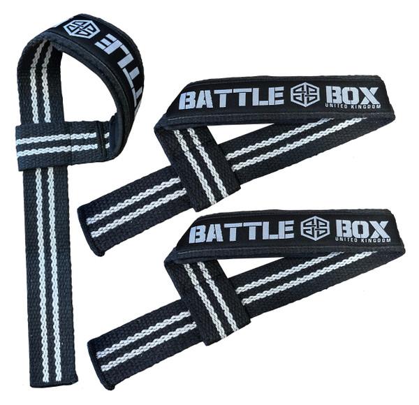 BattleBox UK Adjustable Lifting Straps Black White Weightlifting - www.BattleBoxUk.com