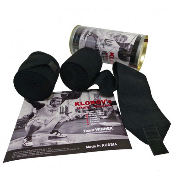 Klokov Winner Weightlifting Elastic Knee Bandage Extra Long 3.5 Hook Grip Edition - www.BattleBoxUk.com