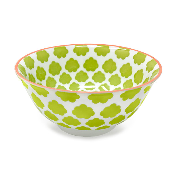 Cloud Pad Printed Bowl, Set of 2, Lime/Peach