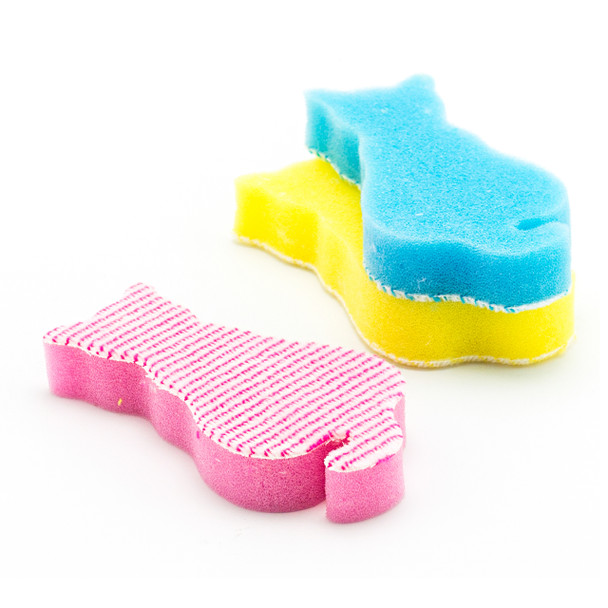 Cat Shape Kitchen Sponge 3pc (Assorted Color)