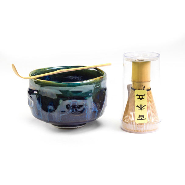 Matcha Set - Matcha Bowl with Whisk and Spoon, Shiny Blue/Green