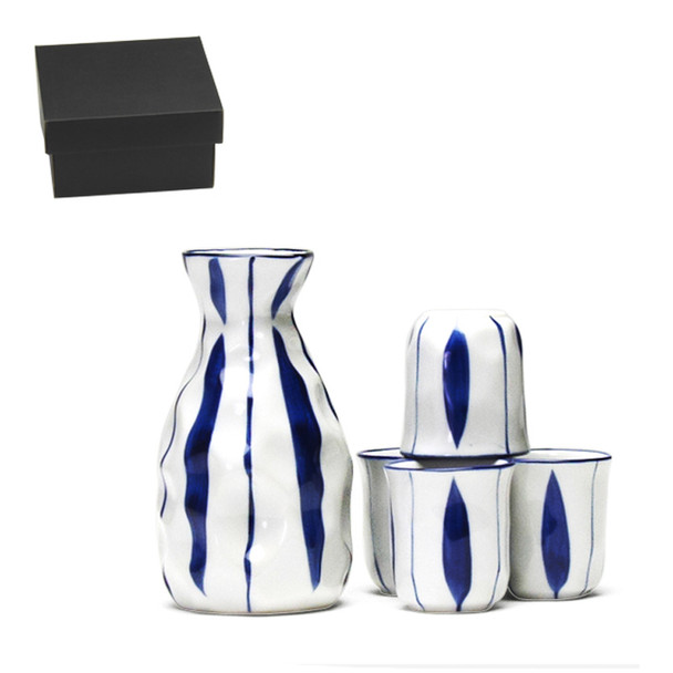 Blue Vertical Stripe 5pc Sake Set, Serving 4