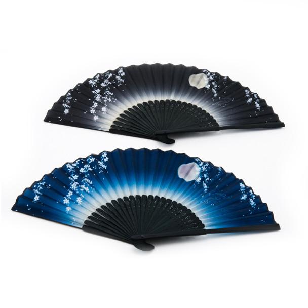 Night Sky Folding Fan 2pc Bamboo Handle, Assorted Blue/Black