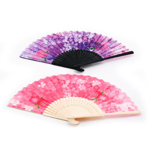 Day Flower Folding Fan 2pc Bamboo Handle, Assorted Pink/Purple