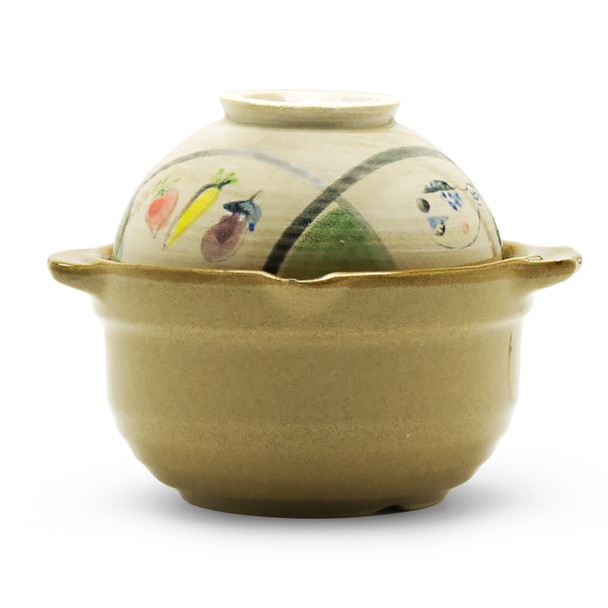 Single serving Donabe Japanese stone pot with ricebowl lid