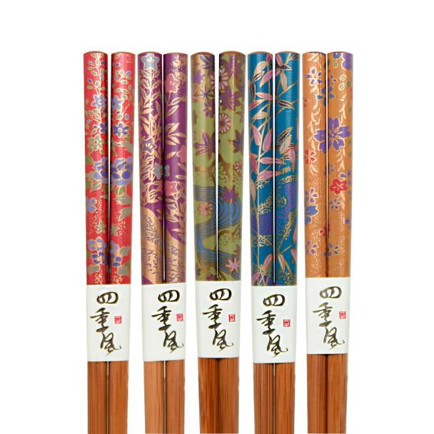 Japanese Botanical Chopsticks 5pc Set