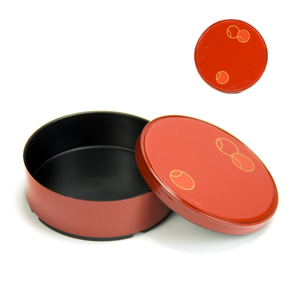 "Red Lacquer Tier Bento Box  4.75"" Round"