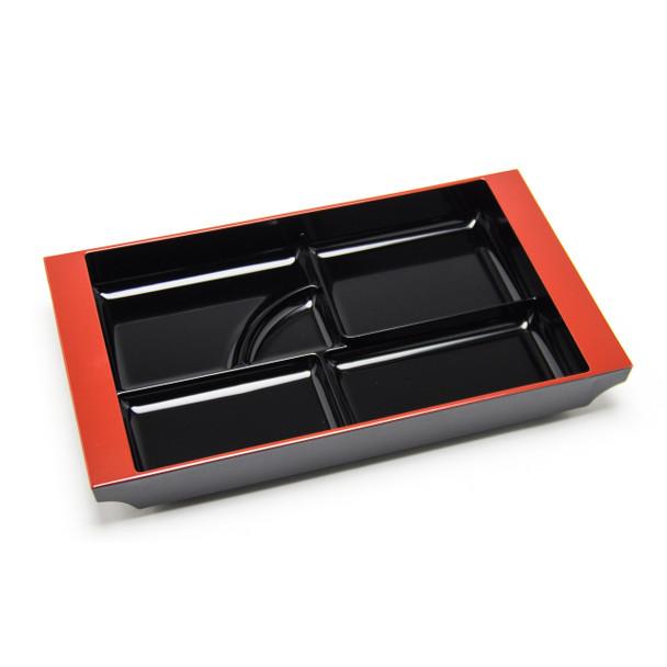 """5-Compartment Tray Plate Plastic Lacquer 19""""x12"""" - Black"""
