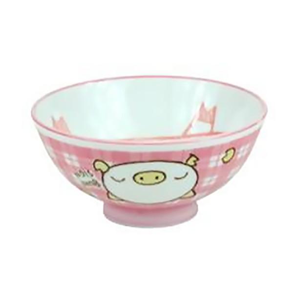 """Pink Pig Rice Bowl 4-1/4"""" Set of 5"""