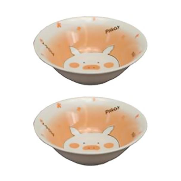 """Piggy Shallow Bowl 5-3/4"""" Set of 2"""