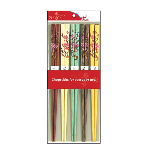 5 Color Wooden Chopsticks Set of 5