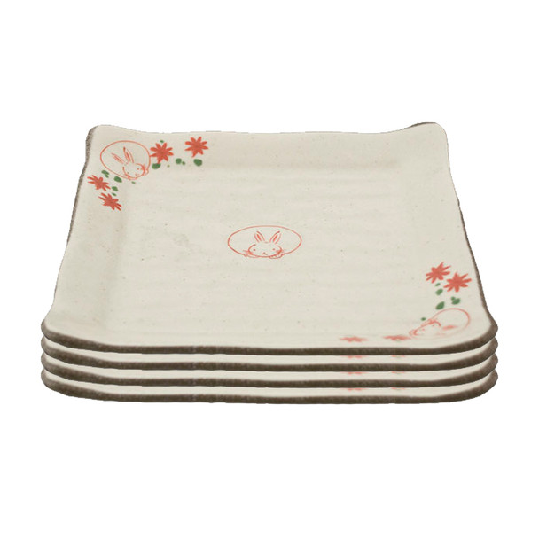 """Rabbit Plate 8-1/2"""" Square Set of 4 - Limited Edition"""