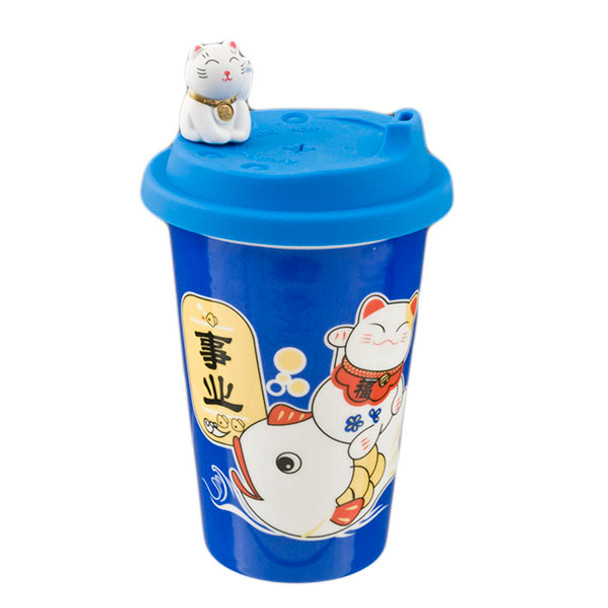 Maneki Neko Cat Cup with Silicone Lid 14oz, Blue or Red