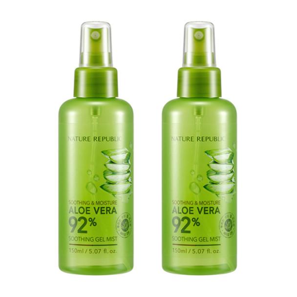 Nature Republic 92% Aloe Vera Soothing Gel Mist 150mL (2pc Set)