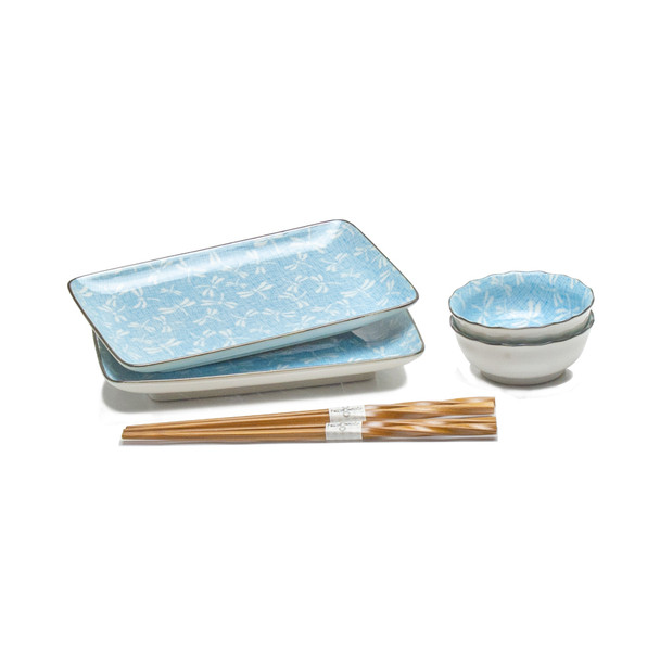 Dragonfly Sushi Plate Set, Service for 2 - Blue