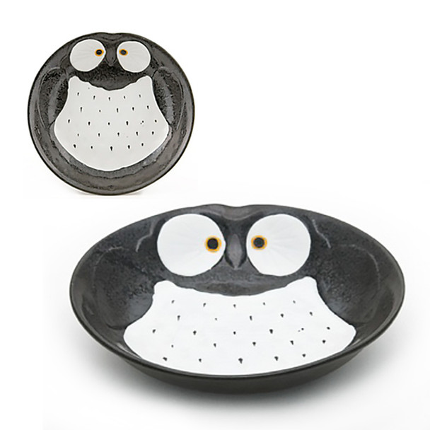 "Stony Owl Plate 8""D - Set of 2, Black"