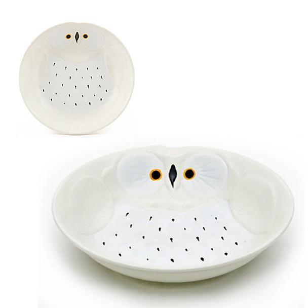 "Stony Owl Plate 8""D - Set of 2, White"