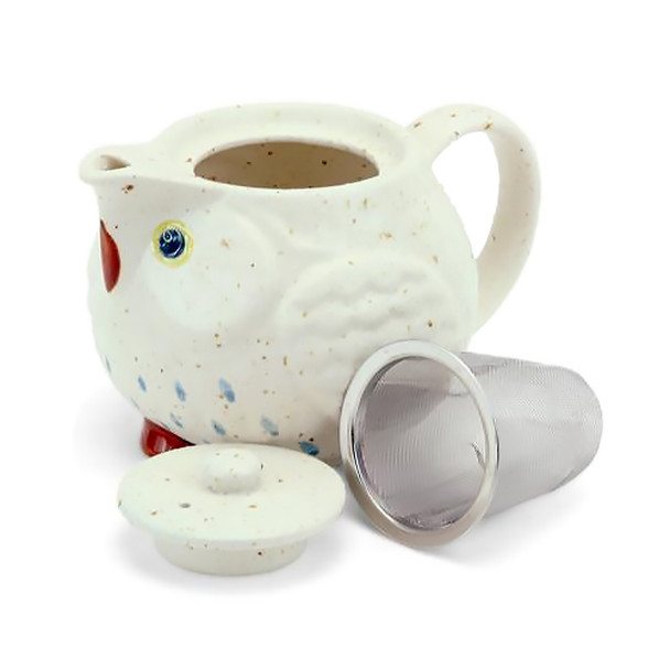 "Stony Owl Tea Pot 4-1/2""D - White"