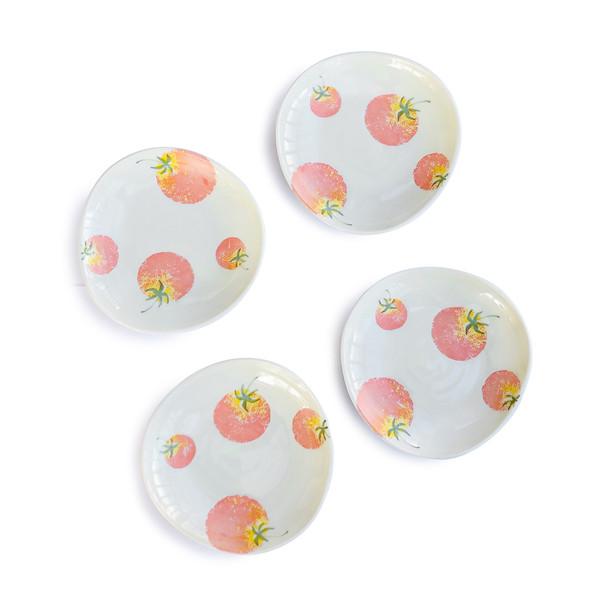 """Tomato Porcelain Plate 4-3/4"""" Irregular White, Set of 4"""